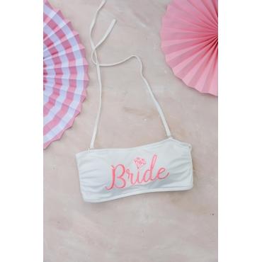 Bride Nakış İşleme Detaylı Beyaz Bikini Üstü