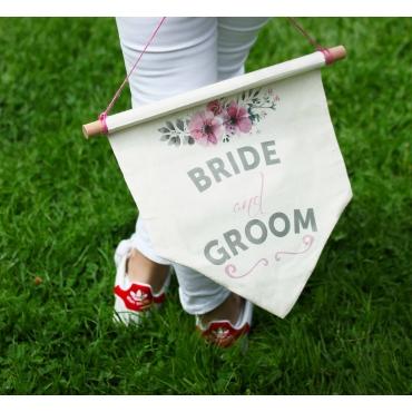 BRIDE-GROOM BASKILI SOPA EKLEMELİ BEZ BAYRAK