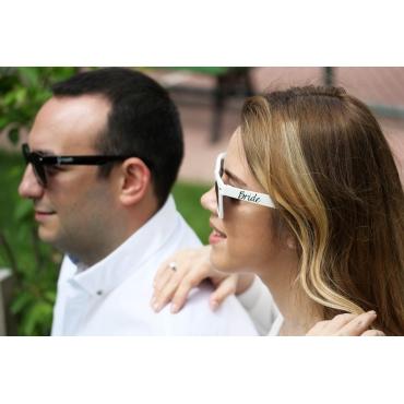 BRIDE-GROOM YAN BASKILI GÜNEŞ GÖZLÜĞÜ