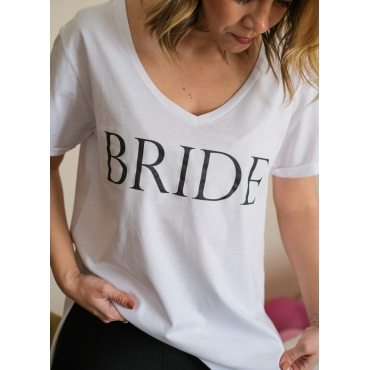 SİYAH BRIDE BASKILI GELİN TİŞORT